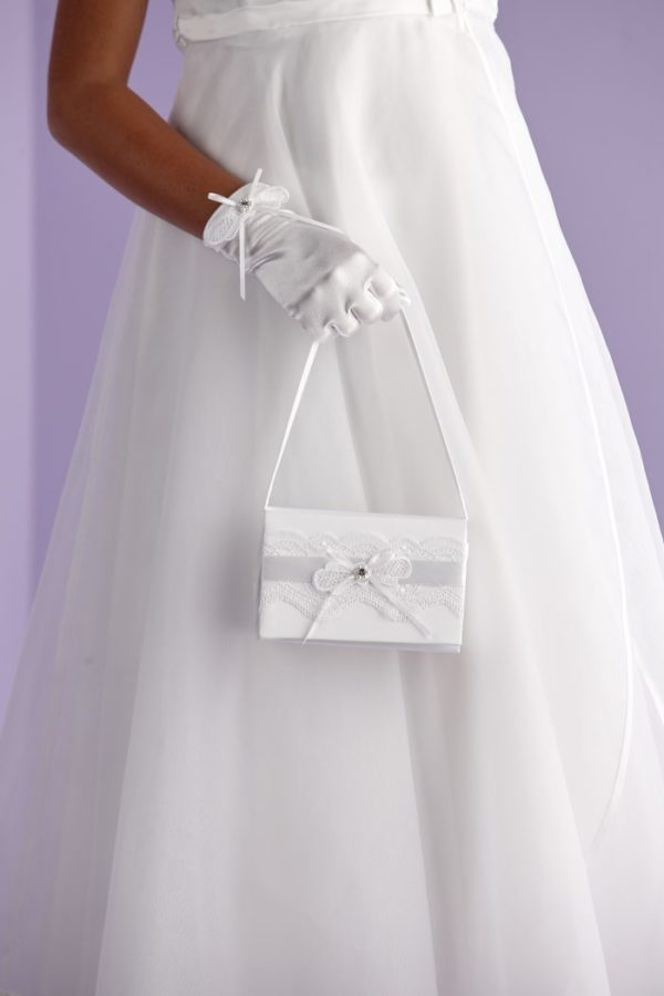 First Holy Communion bag decorated with a large lace ribbon