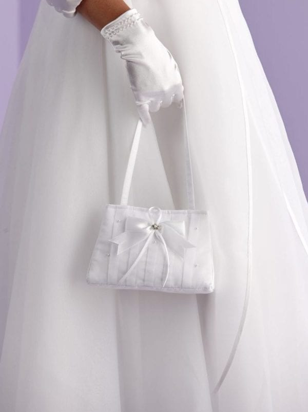 First Holy Communion satin bow bag decorated with pearls.