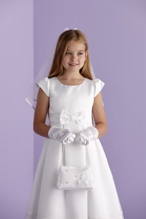 First Holy Communion satin bag with satin flowers and diamante