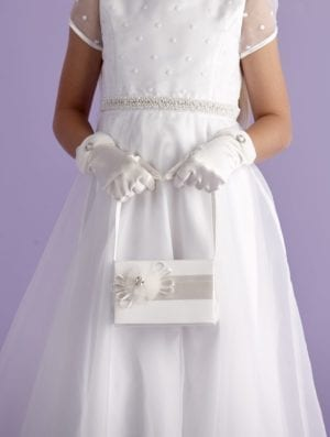 Ivory First Holy Communion bag with satin ribbon