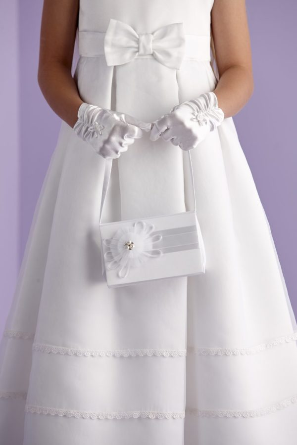 Holy Communion white satin hard cased bag