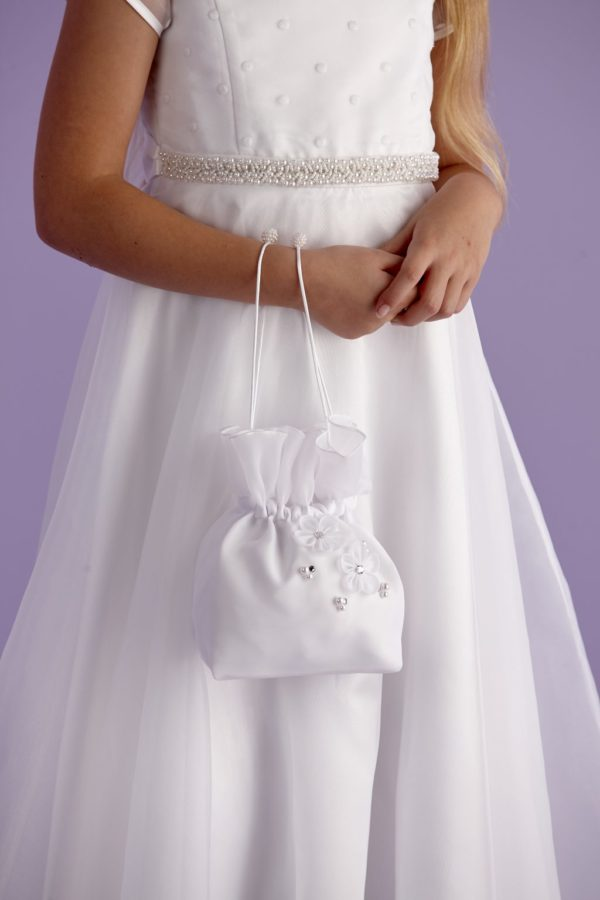 Holy Communion white satin dolly bag with pearl cluster detail