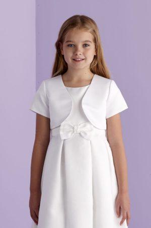 white short sleeved satin bolero