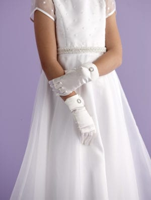 Ivory First Holy Communion gloves with an organza bow