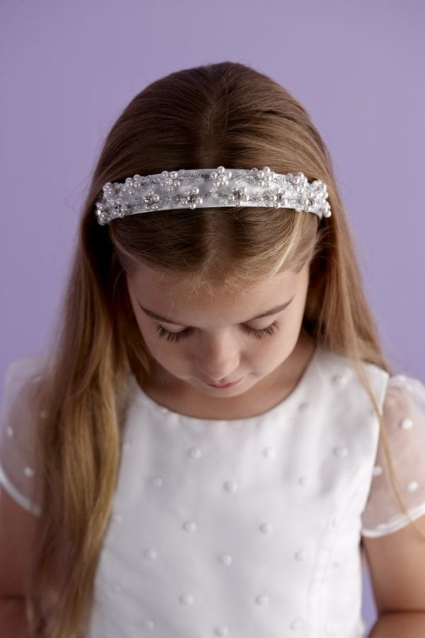 Holy Communion white satin headband with pearl and rhinestones