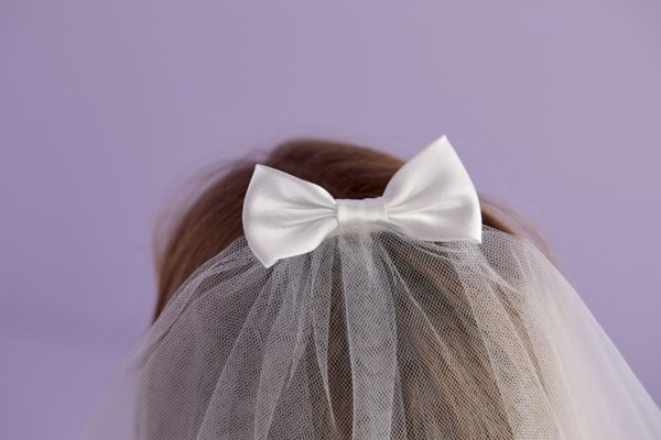 Holy Communion two-tiered veil with satin bow