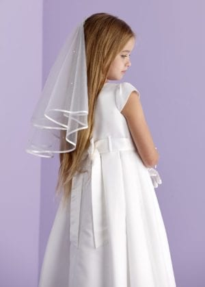 Holy Communion white two-tiered veil with diamante.