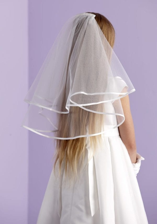 Holy Communion white two-tiered communion veil