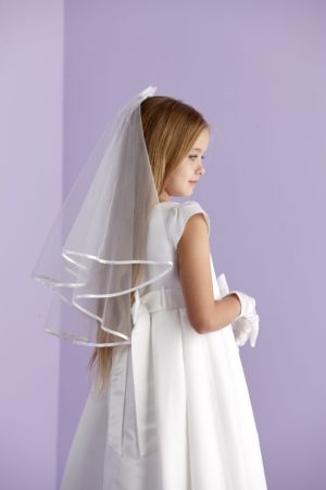 Holy Communion two-tiered white veil with a delicate organza bow