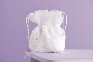 Lucy Holy Communion white satin dolly bag